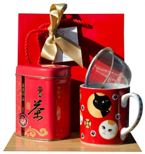 Gift bag – Jasmine tea & Red Lucky cat Tea mug Japanese